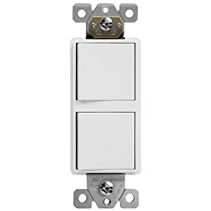 ENERLITES Decorator Double Paddle Combination Switch, Single-Pole, Residential Grade, Side Wiring, Grounding Screw, 15A 120-277v, 62834-W-N, White (New Model)