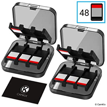 2x CamKix Funda de juego compatible con Nintendo Switch - Para hasta 48 juegos de conmutador Nintendo - Organizador de tarjeta de juego - Contenedor ...