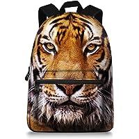 Jeremysport 15 inch Canvas 3D Animal Face Tiger Back Pack for School