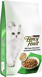 Purina Fancy Feast Gourmet Dry Cat Food with Ocean Fish & Salmon and Accents of Garden Greens 12 lb. Bag