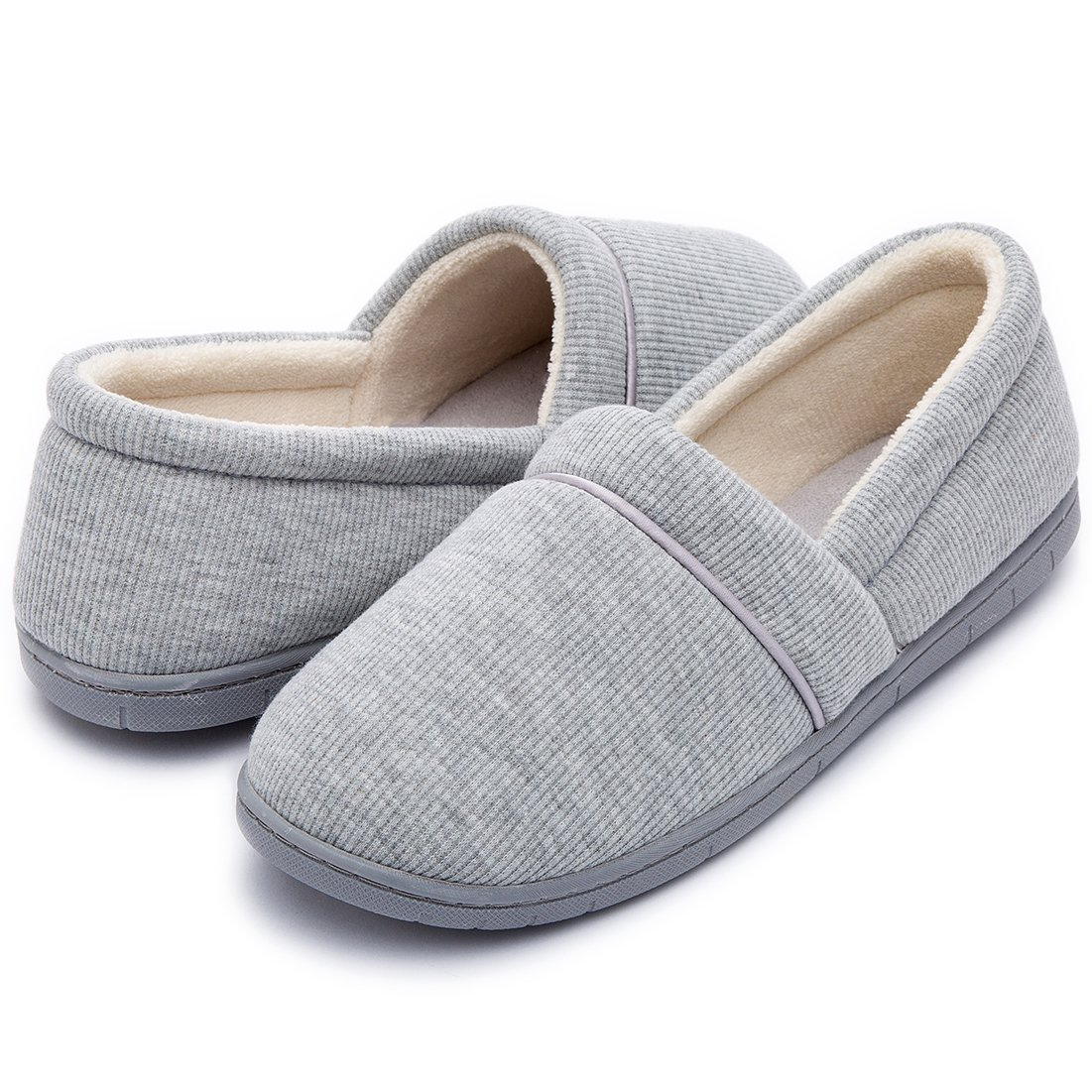 ULTRAIDEAS Women's Velvet Memory Foam Closed Back Slippers Lightweight Anti-Slid Embroidery Ballerina House/Office Shoes (Medium / 7-8 B(M) US, Gray) by ULTRAIDEAS