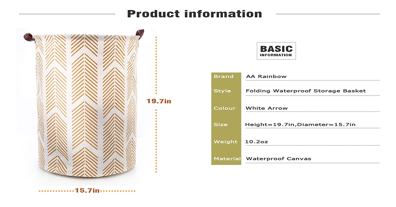 1315.7 White Lattice, L AARainbow Large Sized Waterproof Coating Cotton Laundry Basket Collapsible Washing Basket Cylindric Linen Canvas Storage Basket Bin Home Nursery Toy Organizer