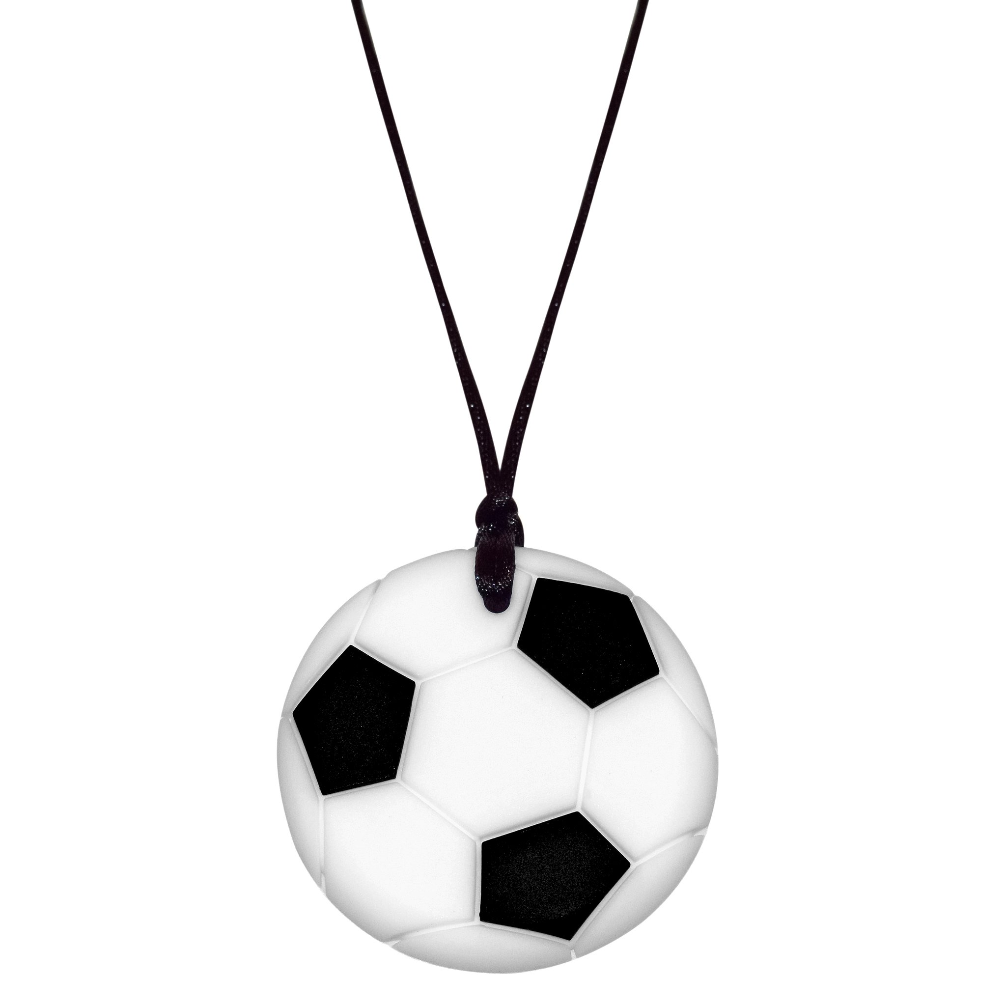Sensory Oral Motor Aide Chewelry Necklace - Chewy Jewelry for Sensory-Focused Kids with Autism or Special Needs - Calms Kids and Reduces Biting/Chewing/Fidgeting – Soccer Ball