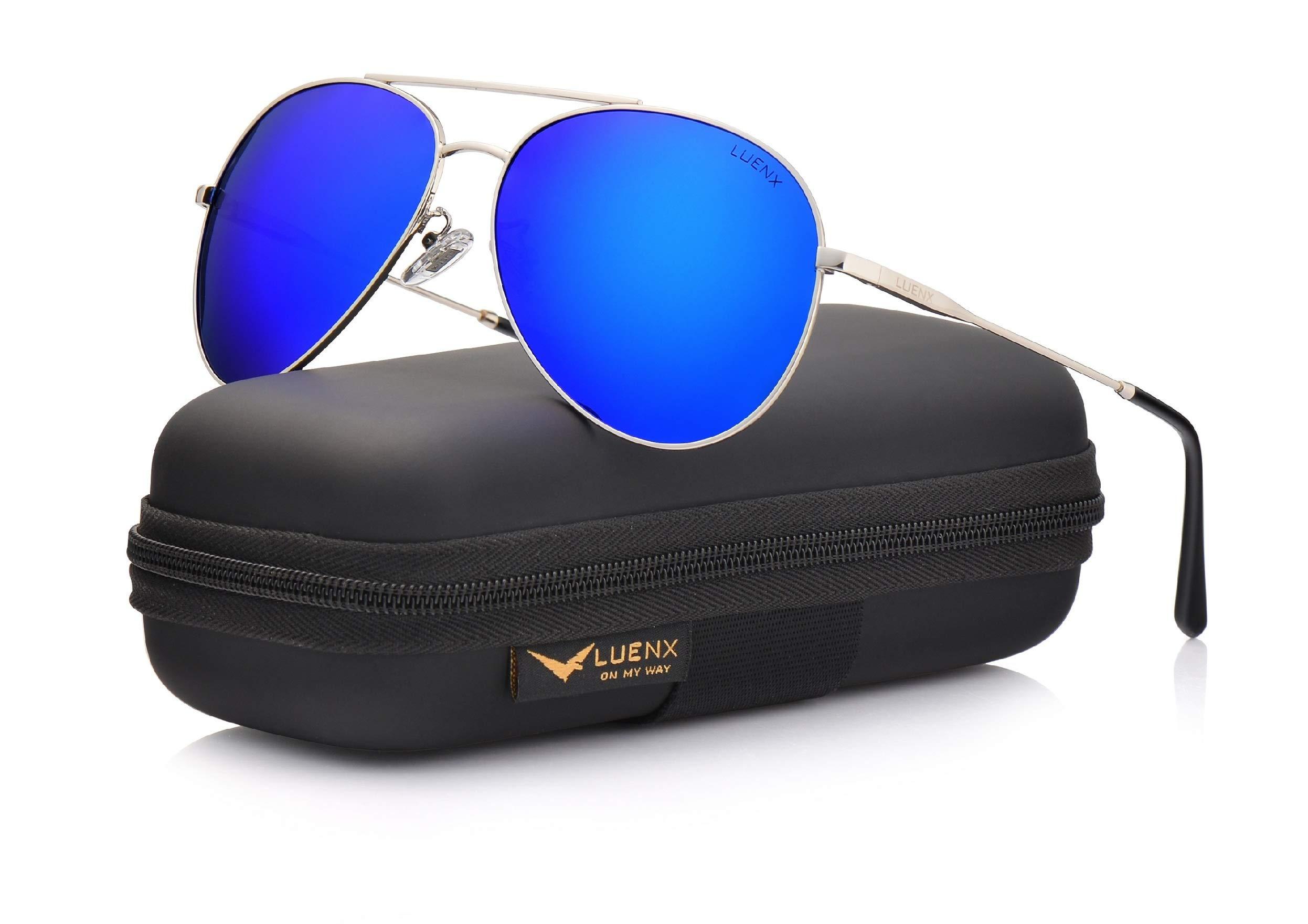 LUENX Men Women Aviator Sunglasses Polarized Mirrored Blue Lens Metal Frame UV 400 Driving