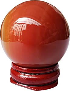 Bacatgem 40mm Carnelian Healing Crystal Divination Sphere Sculpture Figurine Gemstone Ball,Feng Shui Chakra Aura Home Desk Decor Decorative Collection,with Wooden Stand