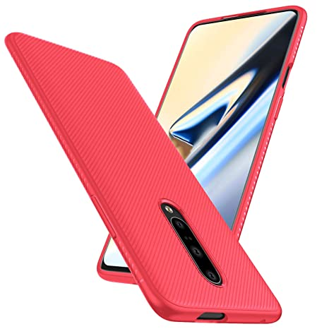 TTVie Funda para OnePlus 7, Carcasa Caso Cubierta de Protección de TPU Silicona con Textura de Sarga para OnePlus 7 Smartphone Modelo de 2019, Sarga ...