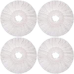 HALIEVE 4 Pack Replacement Mop Microfiber Head Refill for Hurricane 360° Spin Mop Round Shape Standard Size Mop Pads, Washable and Reusable