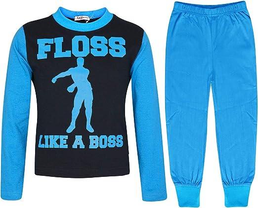 A2Z 4 Kids Enfants Filles Garcons Bleu Pyjamas Branché Floss Like A Boss Imprimer Contraste Manches Élégant Pyjamas Loungewear Vêtement De Nuit Âge 3-13 Ans