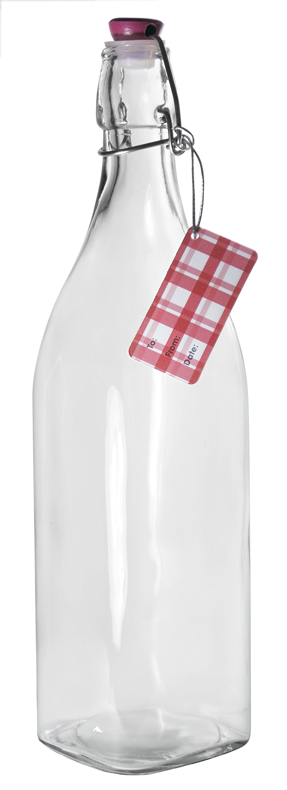 Grant Howard Square Glass Jug with Clip Top, 1 L, Clear