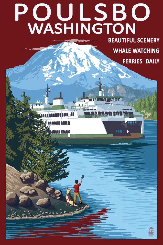 Poulsbo、ワシントン – Ferry and Mountain 36 x 54 Giclee Print LANT-48189-36x54 36 x 54 Giclee Print  B017E9VUDK