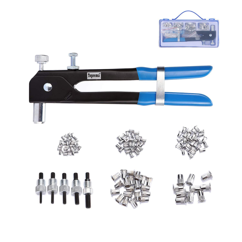 Toprema 126pcs Rivet Nut Tool Kit Set Blind Rivet Nut Hand Riveter Gun Wrench Threaded Insert Rivnut Nutsert M3/M4/M5/M6/M8