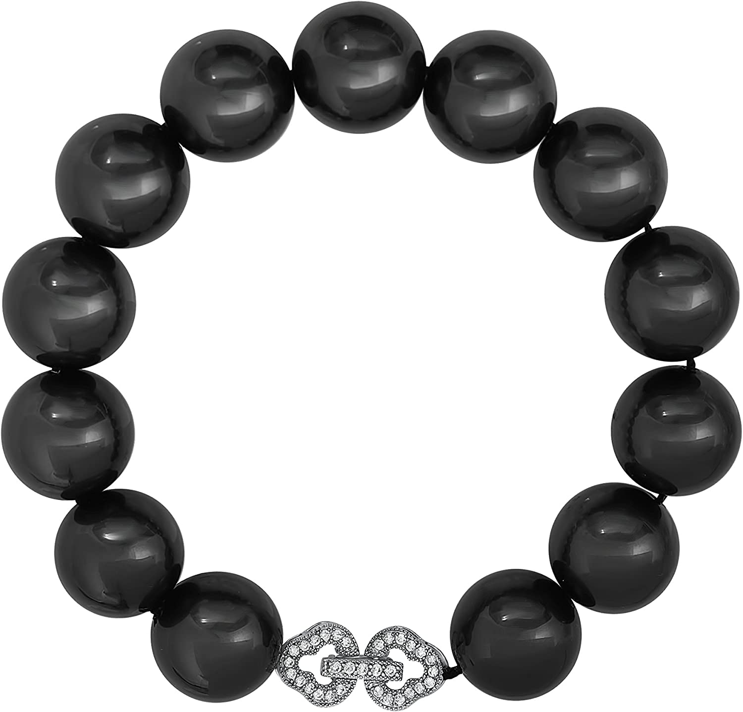 Sterling Silver Black Shell Pearl Bracelet with Cubic Zirconia Infinity Clasp (13-14 mm)