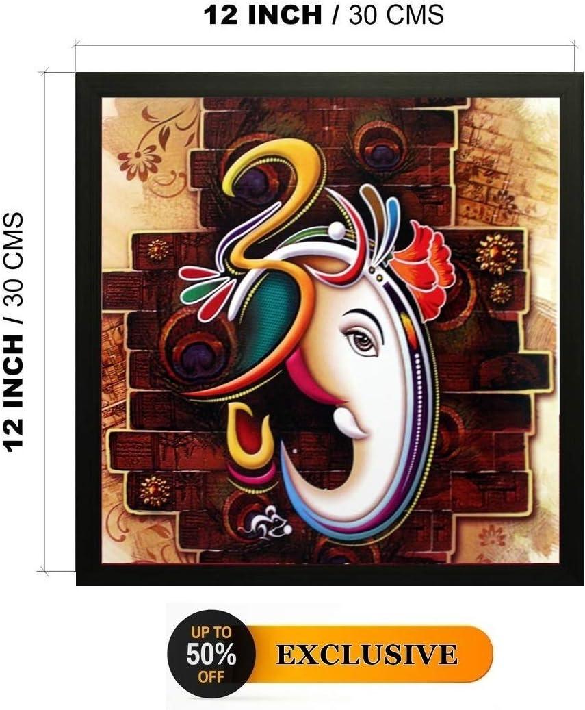 12x12Inch Nobility Ganesha Framed Painting Wall Art Statue