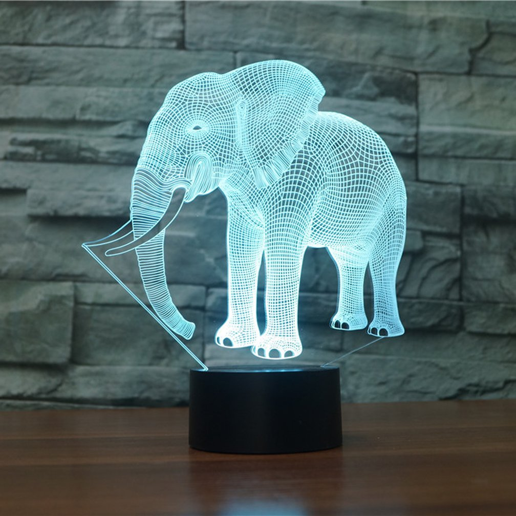 Elephant 3D Lamp Illusion Night Light, Gawell 7 Color Changing Touch ...