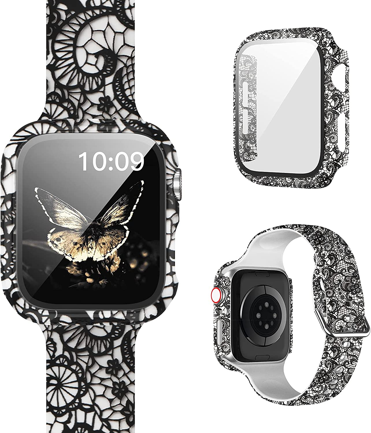 [1+1] Pack Compatible for Apple Watch Band with Case for Apple Watch Series 42mm 3/2/1, Floral Printed Pattern Replacement Strap + Protective Case with Screen Protector for iWatch Accessories