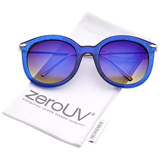 75bfe19ddaa1 Amazon.com: Women's Transparent Glitter Frame Ultra Slim Metal Temple Round  Sunglasses 56mm (Blue-Gold/Blue Mirror): Clothing