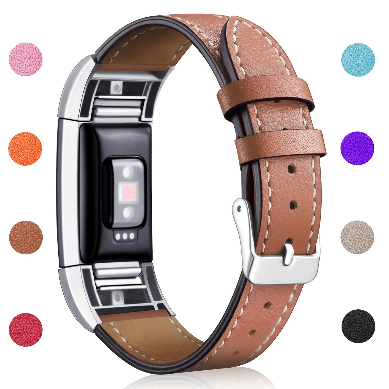 Hotodeal Band Compatible for Fitbit Charge 2 Replacement Bands, Classic Genuine Leather Wristband Metal Connectors, Fitness Strap Women Men Small Large by Hotodeal