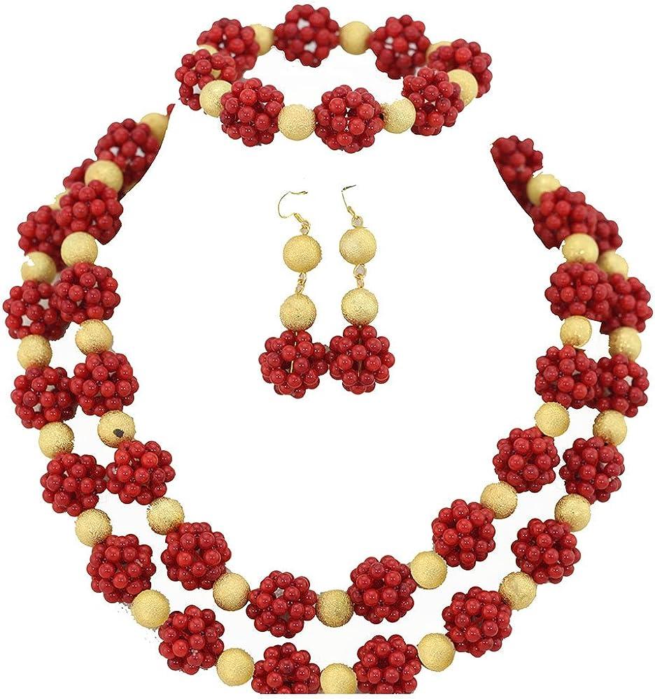AfricanBeads 2-Row rojo mujer fiesta joyas para disfraz de ...