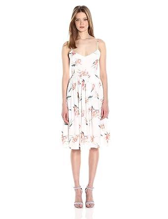 BB Dakota Women's Lila Floral Print Midi Dress, Optic White, 0