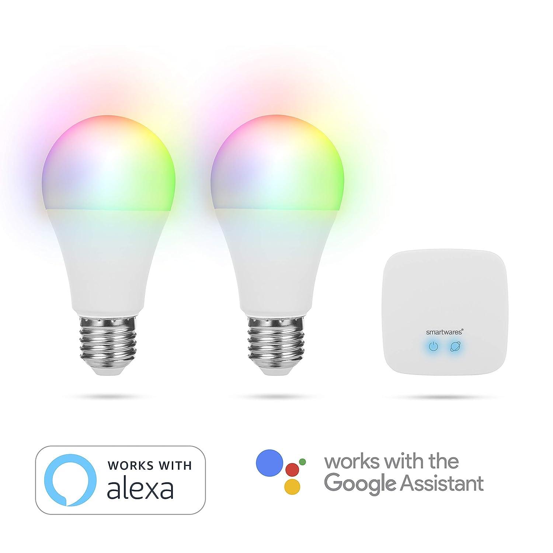 Smartwares Smart Home Pro | Farb-Leuchtmittel Set inklusive Basistation, steuerbar via gratis HomeWizard Link App | Alexa kompatibel