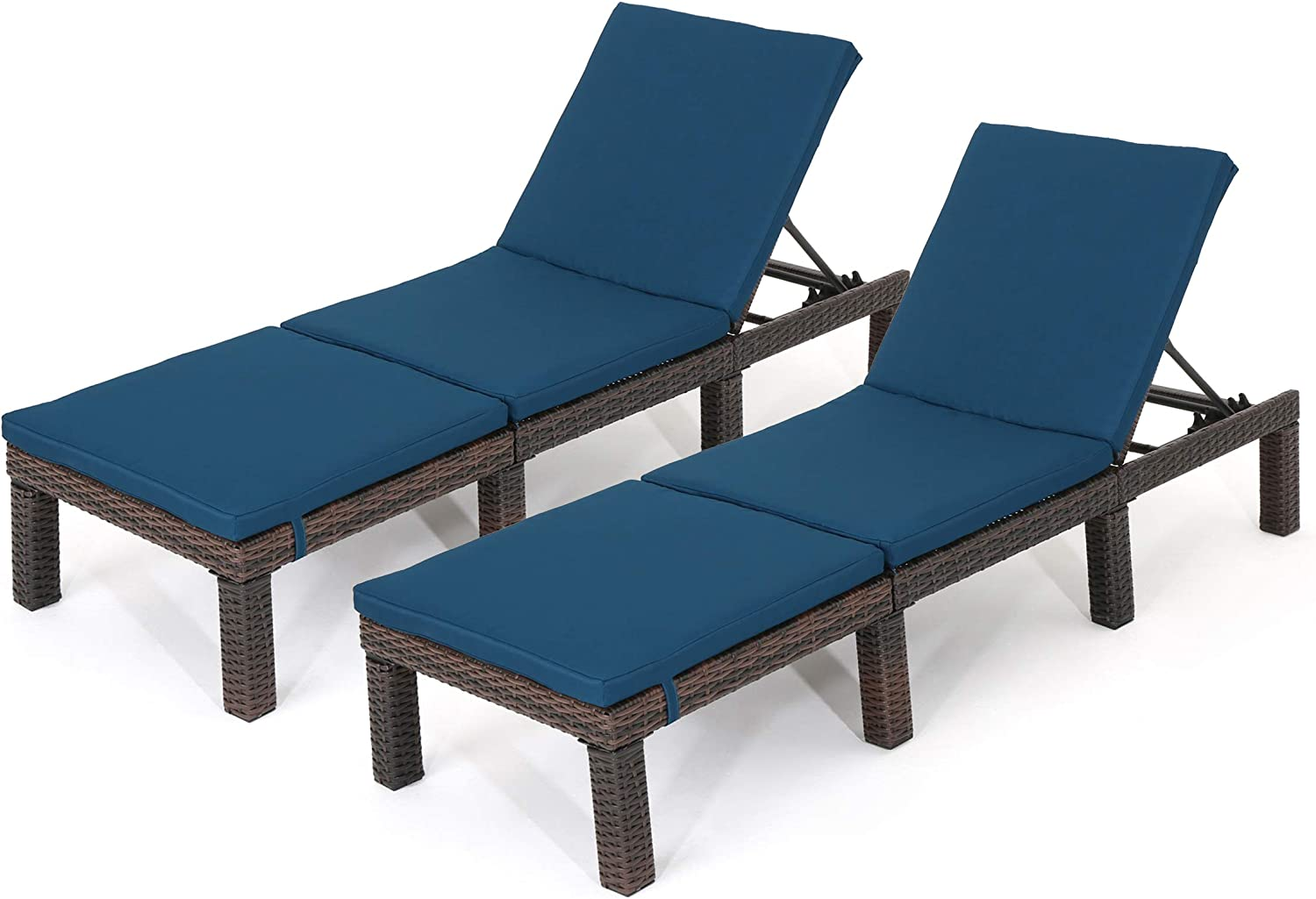 Christopher Knight Home Joyce Outdoor Multibrown Wicker Chaise Lounge with Blue Water Resistant Cushion Set of 2