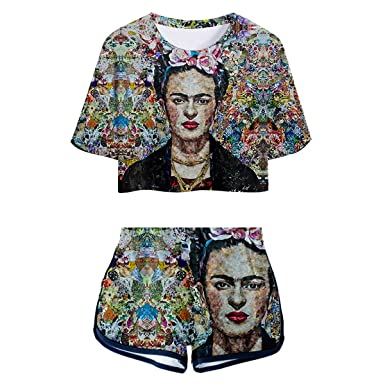 e5686aae6d5 Esemrebna Frida Kahlo Print Crop Top +Soft Short Sweet Two Piece Sets for  Women Outfit