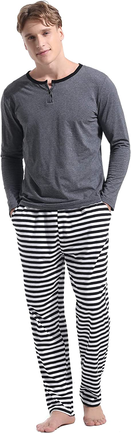Aibrou Mens Cotton Striped Sleepwear Long Sleeve Top & Bottom Pajama Set