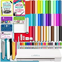 Silhouette White Cameo 3 Bluetooth Starter Bundle with 36 12x12 Oracal Premium Vinyl Sheets, Siser Easyweed T-Shirt Vinyl, Membership, Transfer Paper, Guide, Class, 24 Sketch Pens, and More
