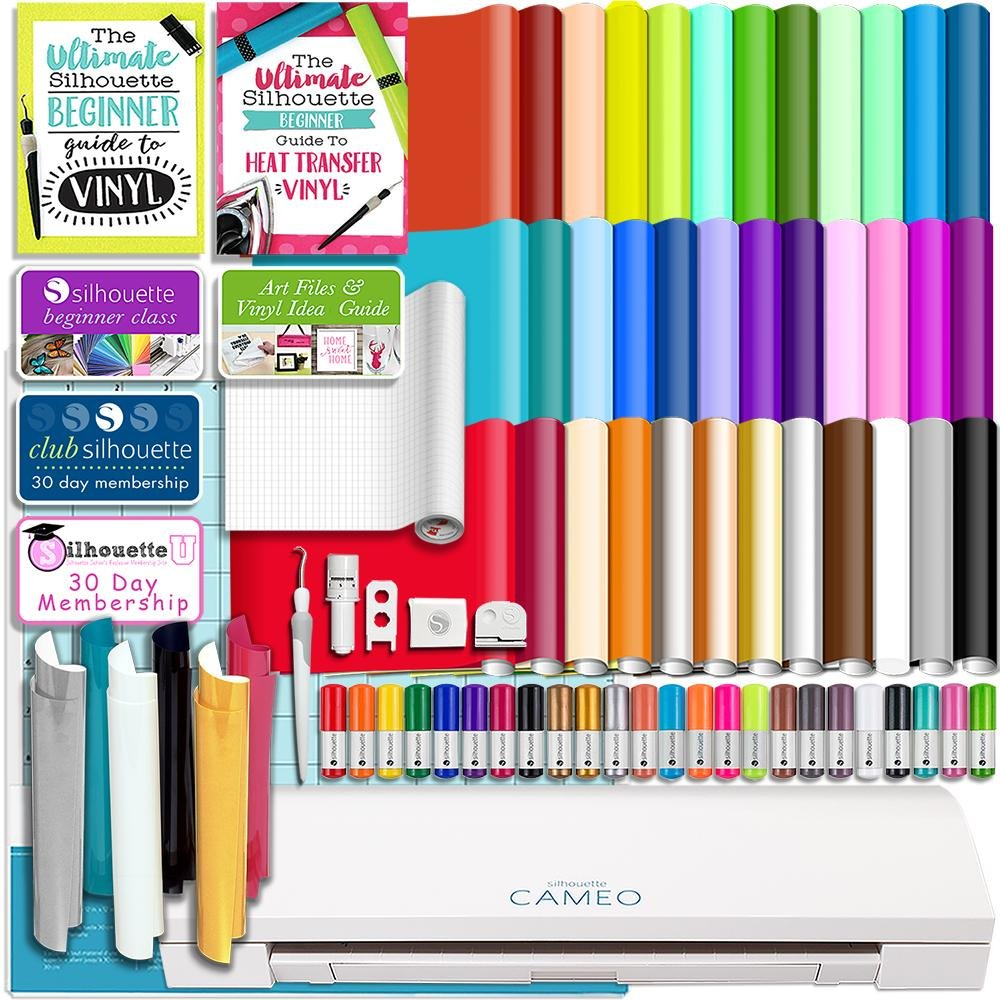 Silhouette White Cameo 3 Bluetooth Starter Bundle with 36 12x12 Oracal Premium Vinyl Sheets, Siser Easyweed T-Shirt Vinyl, Membership, Transfer Paper, Guide, Class, 24 Sketch Pens