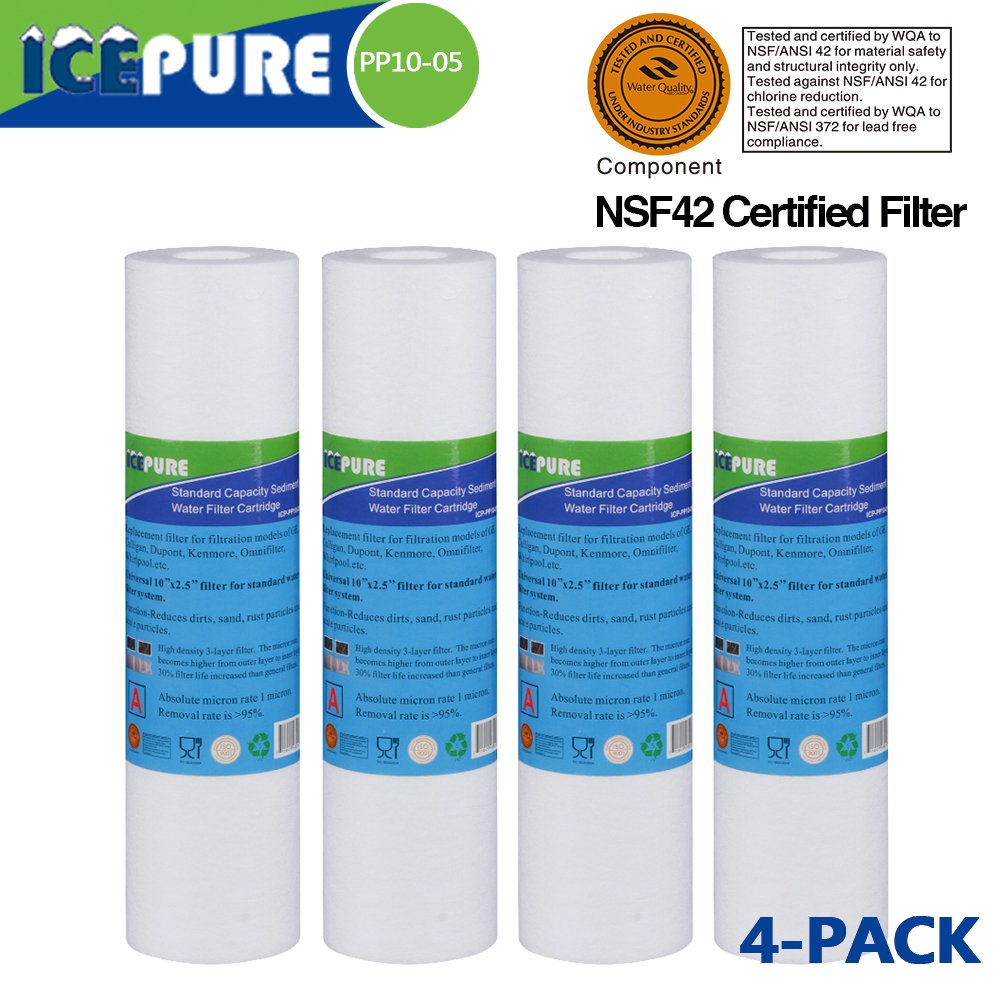 PP10-4 PACK Whole house sediment RO system replacement water filter, NSF certified Filter,Compatible With DuPont WFPFC5002,Pentek DGD series, RFC series,Aqua Pure AP110,WHIRPOOL WHKF-GD05