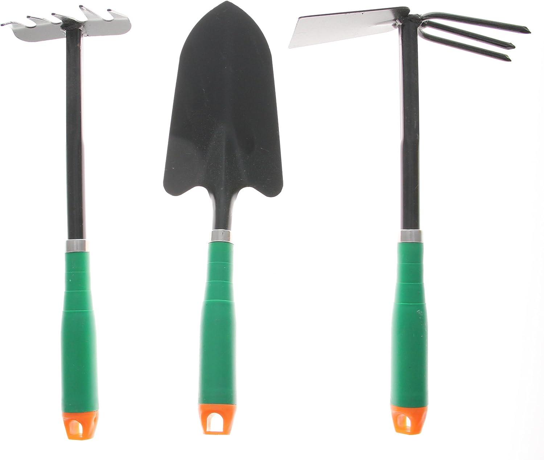 JustNile 3-Piece Gardening Hand Tool Set – Trowel, Mini-Rake and Cultivator
