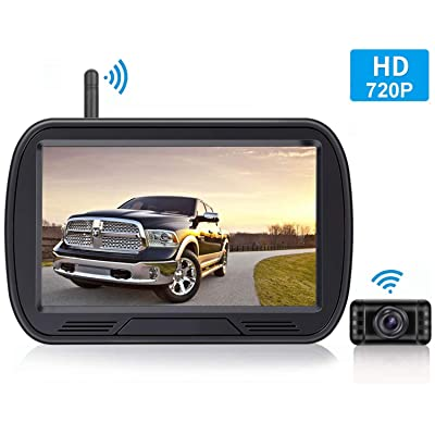 HD Digital Wireless Backup Camera System 5 Inch TFT Monitor for Trucks,Cars,SUVs,Pickups,Vans,Campers Front/Rear View Camera Super Night Vision Waterproof Easy Installation: Car Electronics