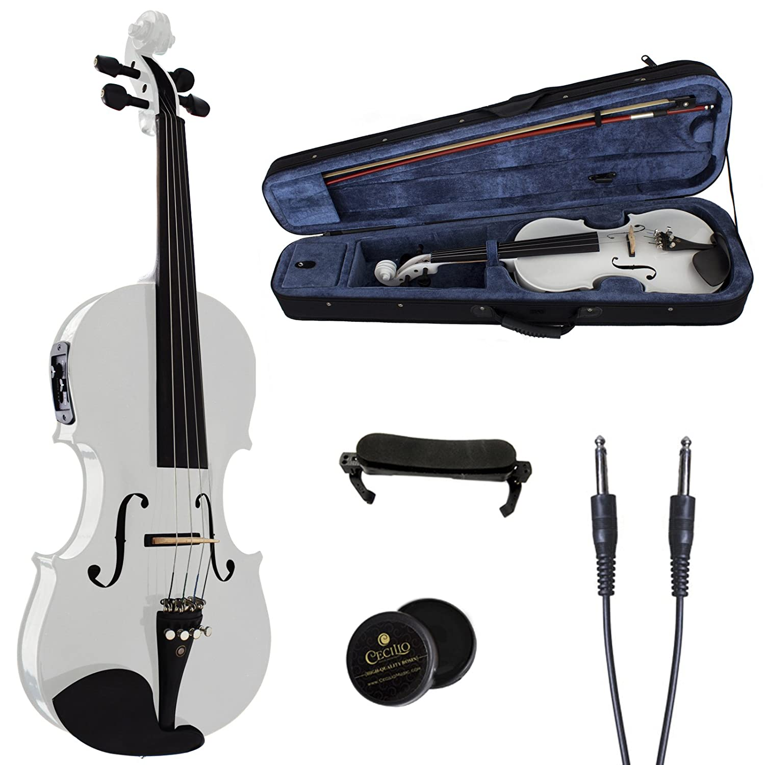 Cecilio CVNAE-White Ebony Fitted Solid Wood Acoustic Electric Violin, White, Size 4/4 (Full Size) 4/4CVNAE-White+SR