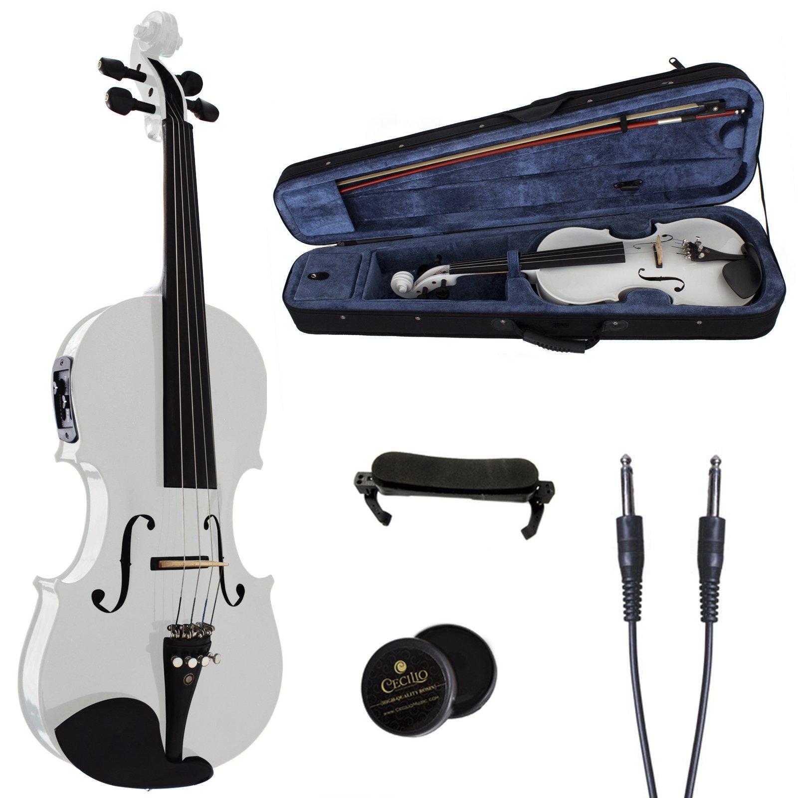 Cecilio 4/4 CVNAE-White+SR Ebony Fitted Acoustic/Electric Violin in Pearl White