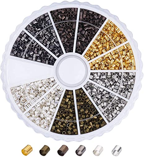 Black Copper 250 Pieces of Each Color Jewelry Crimping Beads in Gold Silver Crimp Tube Beads 1000-Piece Tube Crimp Beads for Jewelry Making 2x2 mm Crimp Tube Spacers