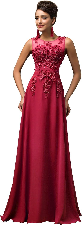 TALLA 42. GRACE KARIN Vestido Elegante para Boda Ceremonia De Vuelo Encaje Floral Precioso Maxi Rojo Oscuro 42