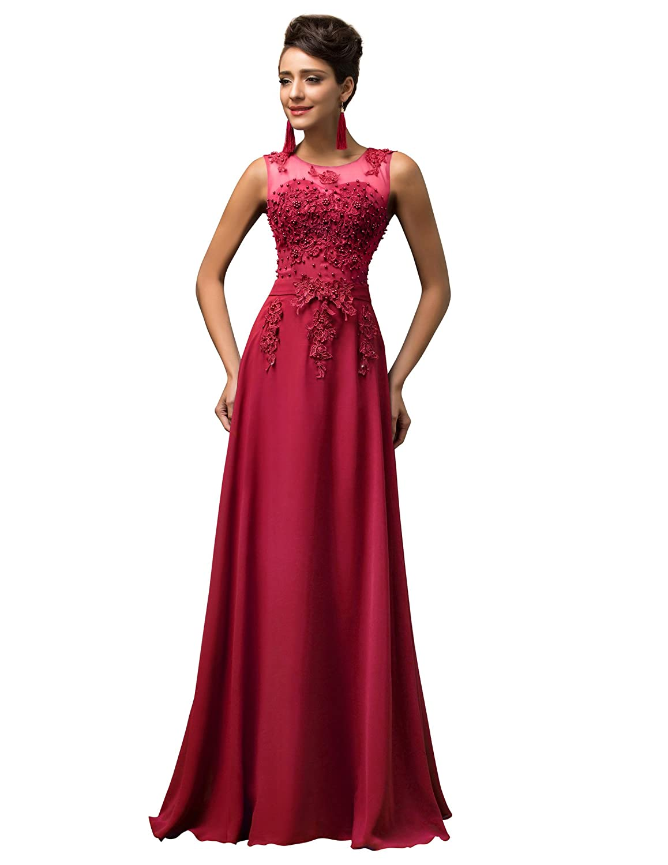 TALLA 54. GRACE KARIN Vestido Elegante para Boda Ceremonia De Vuelo Encaje Floral Precioso Maxi Rojo Oscuro 54