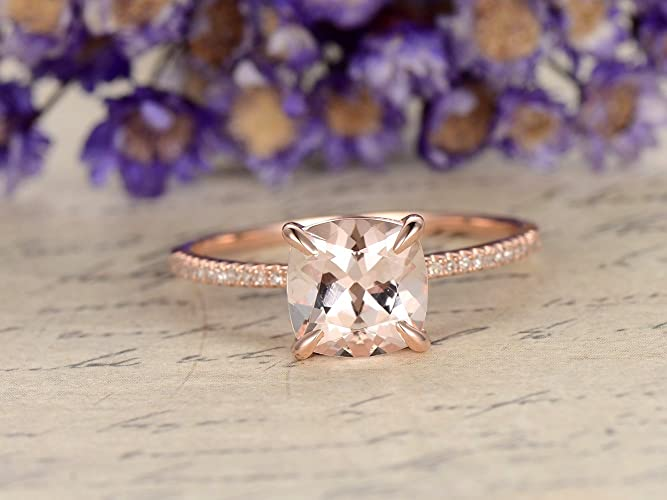 Amazon Com Morganite Solitaire Engagement Ring Solid 14k Rose Gold