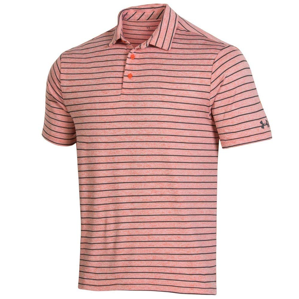 Under Armour New Mens 2019 Playoff Tour Stripe Golf Polo Papaya ...