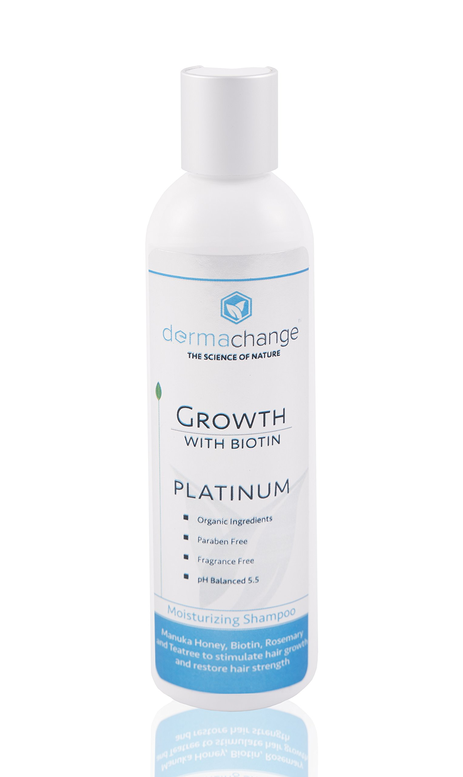 DermaChange Platinum Hair Growth Moisturizing Shampoo - With Argan Oil, Biotin & Tea Tree Extract - Supports Hair Regrowth - Hair Loss Treatments (16 oz) - Made in USA