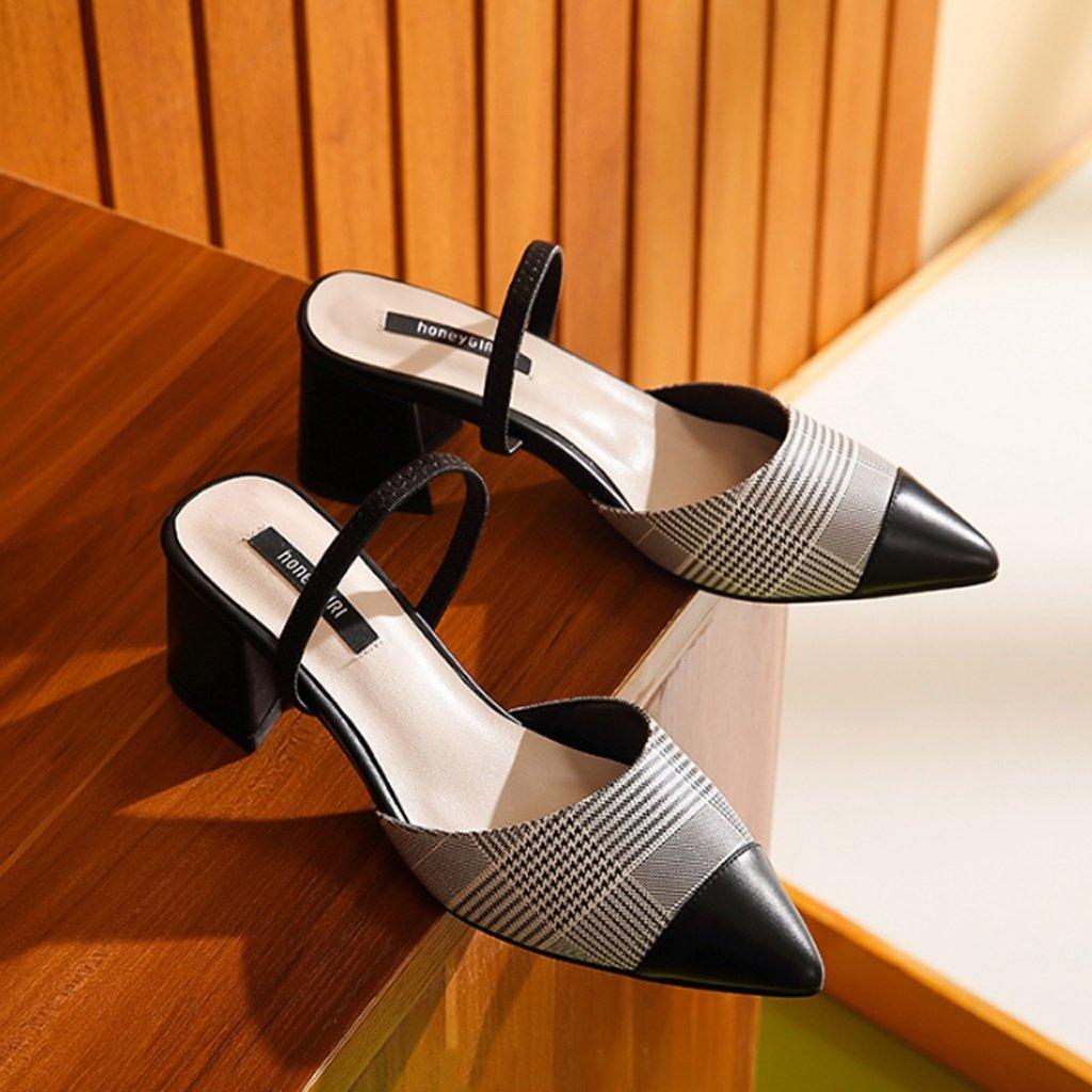 JE schuhe Weibliche High Heel Sandalen Rau mit Spitzen Spitzen Spitzen Schuhe Retro schwarz And Weiß Grid 5ec230