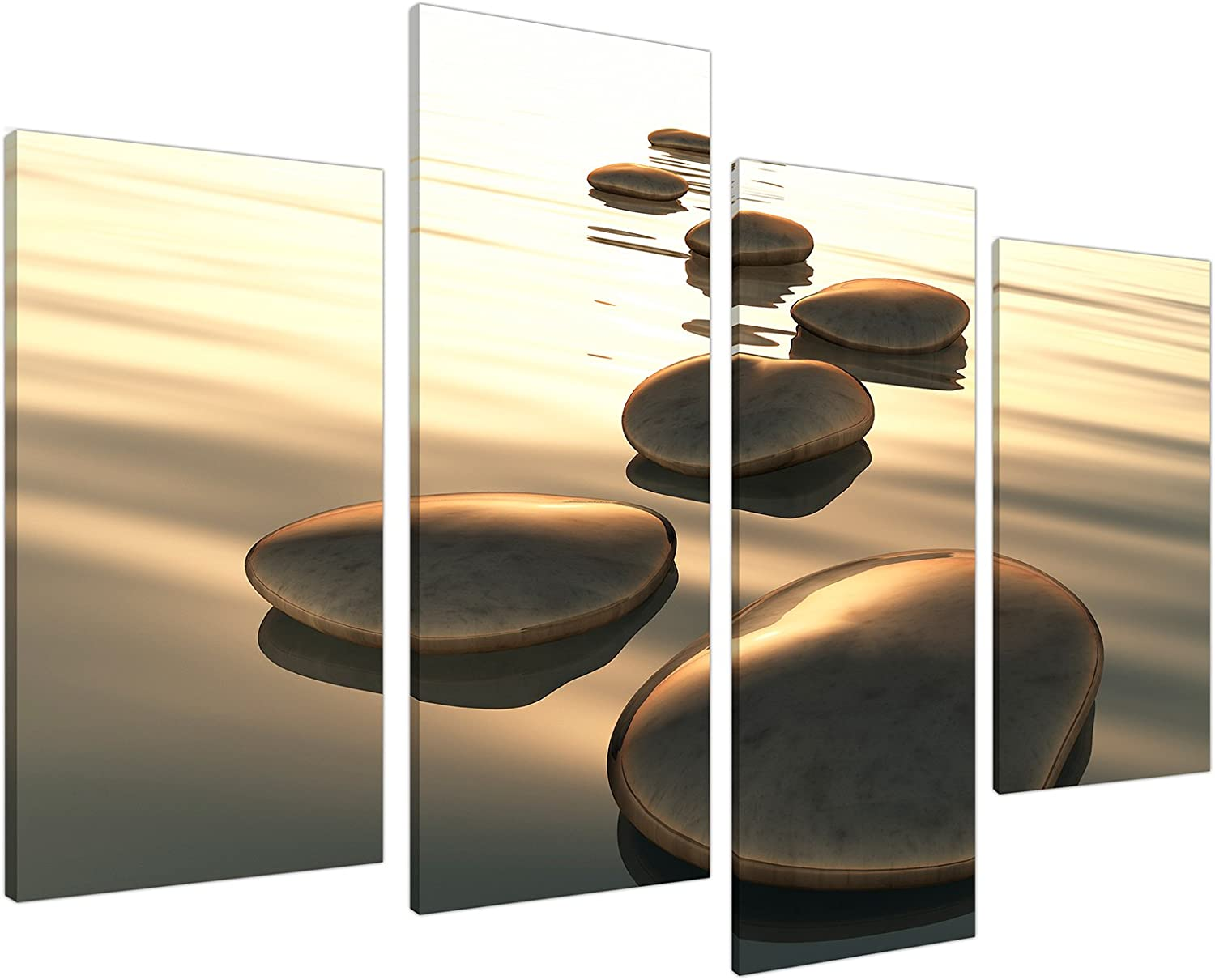 Brown Zen Canvas Wall Art Decor - Soothing Stones - Relaxing Framed Pictures for Bathroom Living Room or Bedroom - Set of 4 Panels - 130cm / 51