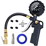 AstroAI Tire Inflator with Pressure Gauge, 100 PSI Air Chuck and Compressor Accessories Heavy Duty with Large 2.5' Easy…