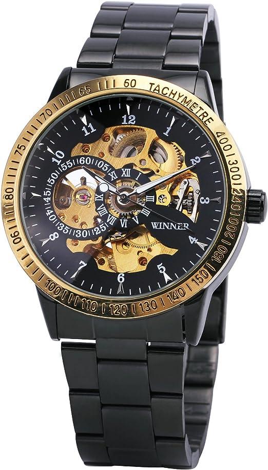 Ganador Hombres Golden Movimiento Relojes Primera Marca Full Acero Inoxidable mecánico automático Esqueleto Dial + Caja de Regalo: Amazon.es: Relojes