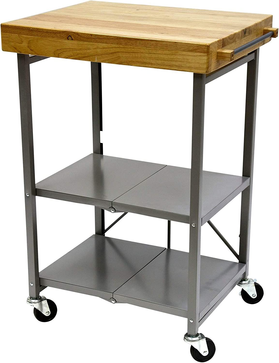 Origami Foldable Rolling Kitchen Island Cart, Food Serving Cart, 3-Tier  Storage Shelf with Wood Top, Microwave Stand, Heavy Duty, Silver