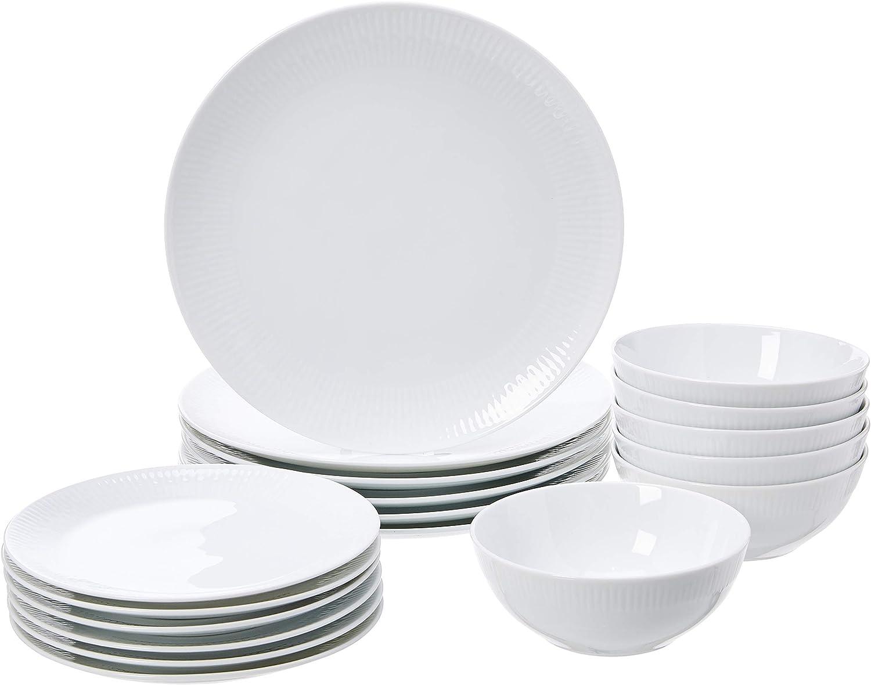 Vajilla de 18 piezas, Porcelana blanca con borde, 6 servicios