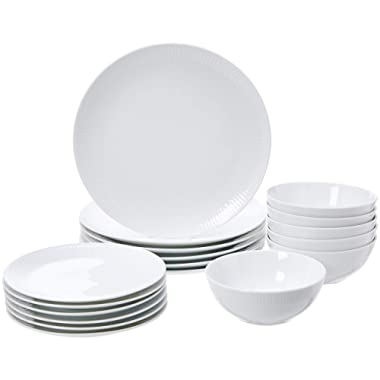 AmazonBasics 18-Piece Kitchen Dinnerware Set, Dishes, Bowls, Service for 6, White Porcelain with Trim