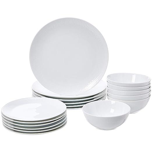 AmazonBasics - Vajilla de 18 piezas, Porcelana blanca lisa, 6 servicios