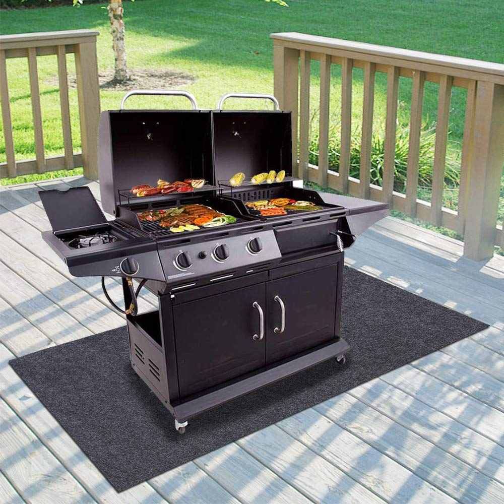 Gas Grill Mat,BBQ Grilling Gear for Gas/Absorbent Grill Pad Lightweight Washable Floor Mat to Protect Decks and Patios from Grease Splatter,Against Damage and Oil Stains or Grease Spills (36''×72'') by Sszhen