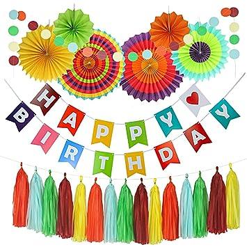 Hivexagon Set de 20 Vistoso Kit de Fiesta: Pancarta de Feliz Cumpleaños, Borlas de Papel, Abanicos de Papel, Decoraciones de Fiesta,Fiestas Temáticas ...
